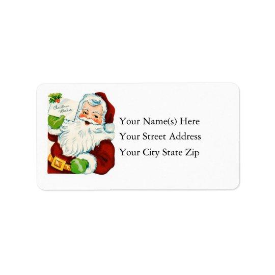 Vintage Santa Delivers Christmas Wishes Label