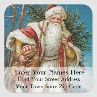 Vintage Santa Delivers Toys and Tree Address Label Square Sticker
