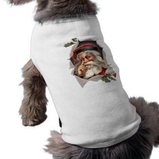vintage santa sleeveless dog shirt