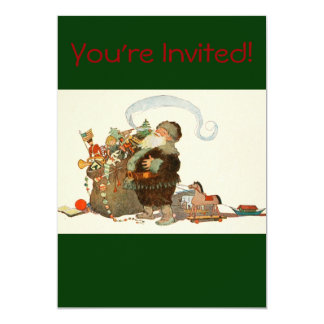 Vintage Santa Elf With Pipe and Sack of Toys 13 Cm X 18 Cm Invitation Card