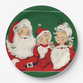 Vintage Santa Family Christmas Dinner Paper Plate
