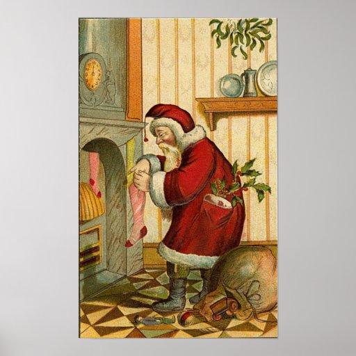 Vintage Santa Filling Stocking Poster