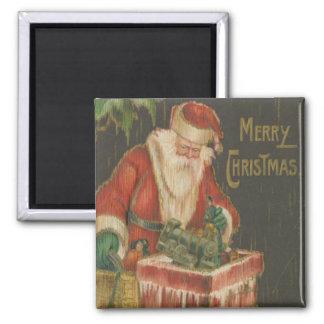 Vintage Santa going down Chimney 2 Magnet
