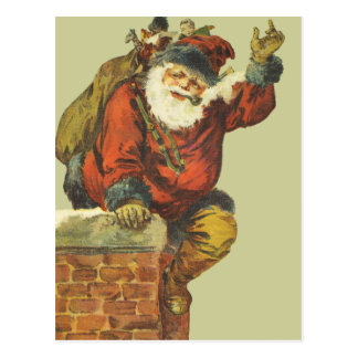 Vintage Santa Going Down the Chimney Postcard