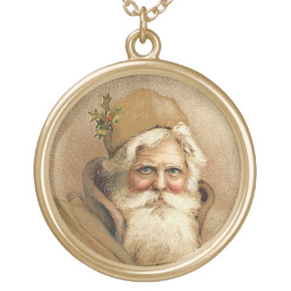 Vintage Santa Gold Plated Necklace