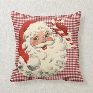 vintage santa holding candy cane throw pillow