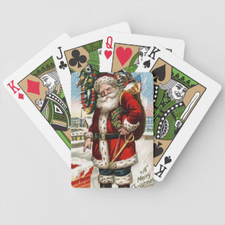 Vintage Santa Holiday Green Bicycle Playing cards