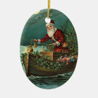 Vintage Santa in a Boat Christmas Ornament