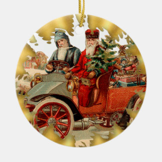 Vintage Santa In Antique Car Christmas Ornament