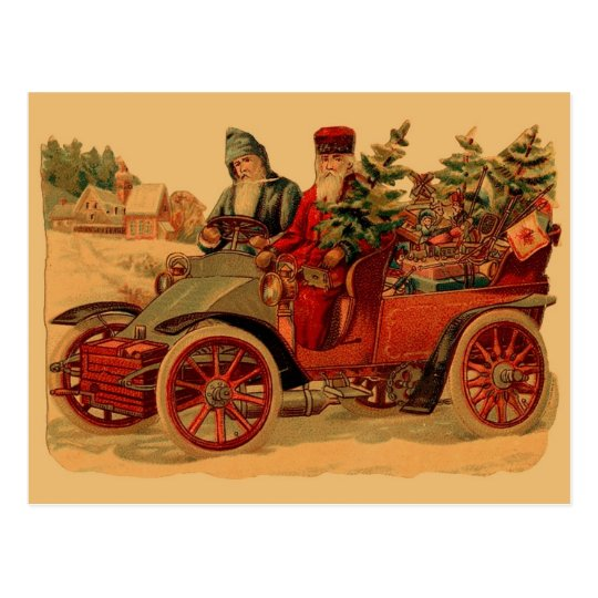 Vintage Santa in automobile Postcard