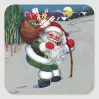 Vintage Santa in Green with Walking Stick Xmas Square Sticker