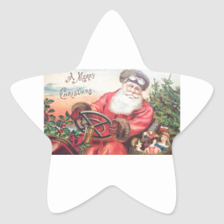 Vintage Santa in his car with the children waiting Star Stickers