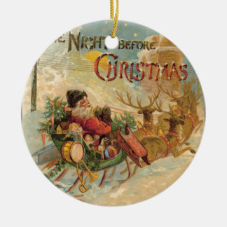 Vintage Santa in his reindeer sleigh Christmas Ornament