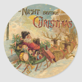 Vintage Santa in his reindeer sleigh Classic Round Sticker