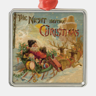 Vintage Santa in his reindeer sleigh ornament