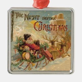 Vintage Santa in his reindeer sleigh ornament