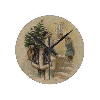 Vintage Santa in Snow Round Clock