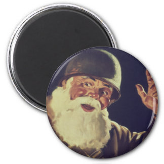 Vintage Santa is Going to War Poster 6 Cm Round Magnet