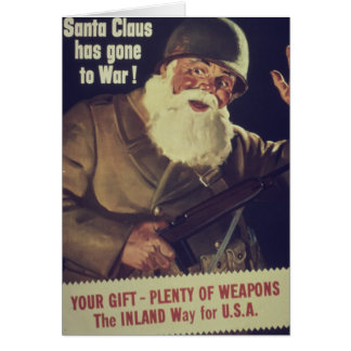 Vintage Santa is Going to War Poster Card