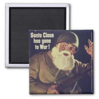 Vintage Santa is Going to War Poster Square Magnet