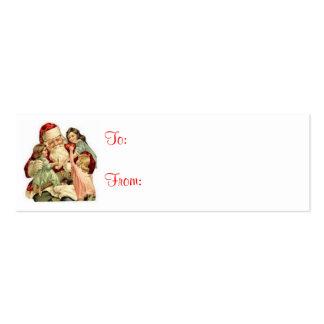 Vintage Santa & Kids Christmas Gift Tags Pack Of Skinny Business Cards