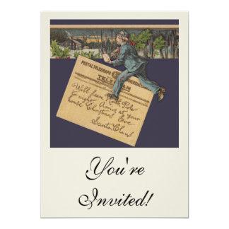 Vintage Santa Letter 13 Cm X 18 Cm Invitation Card