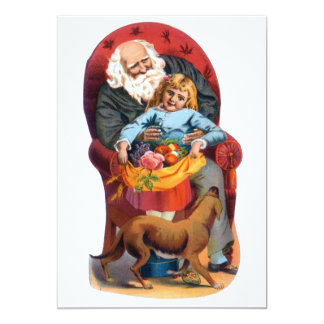 Vintage Santa & Little Girl Christmas 13 Cm X 18 Cm Invitation Card