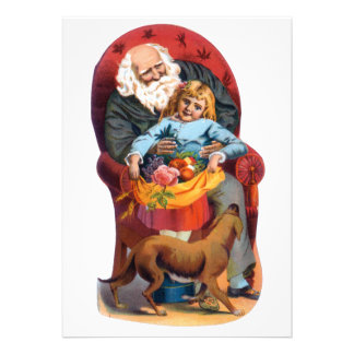 Vintage Santa Little Girl Christmas Personalized Invite