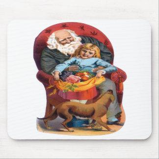 Vintage Santa Little Girl Christmas Mouse Pads