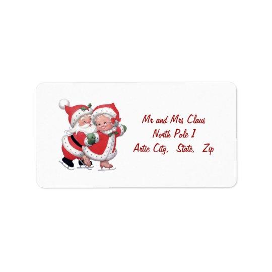 Vintage Santa man and Santa woman Label Address Label