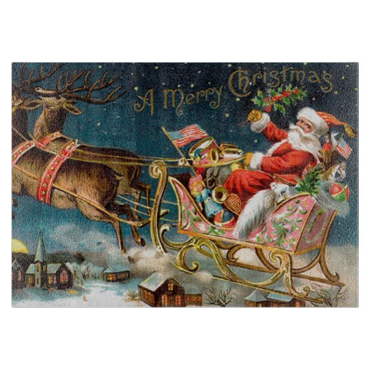 Vintage Santa Merry Christmas Cutting Board