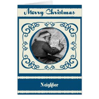 Vintage Santa Neighbor Christmas Greeting Card