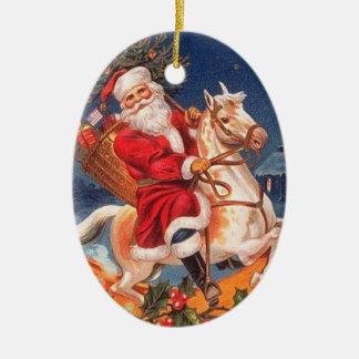 Vintage Santa on a Rocking Horse Ornament