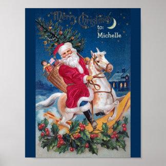 Vintage Santa On Rocking Horse Value Poster