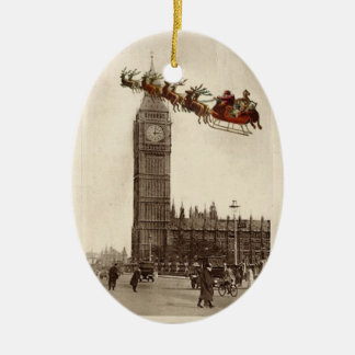 Vintage Santa over BigBen London Christmas Ornamet Ceramic Oval Decoration
