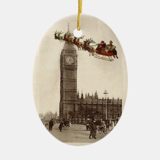 Vintage Santa over BigBen London Christmas Ornamet Christmas Tree Ornament