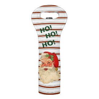 Vintage Santa Over Candy Cane Stripes Wine Bag