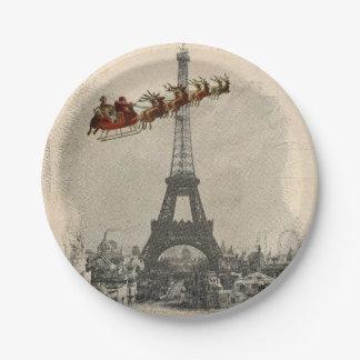 Vintage Santa over Paris Christmas Paper Plate 7 Inch Paper Plate