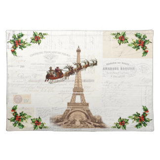 Vintage Santa over Paris Christmas Placemat