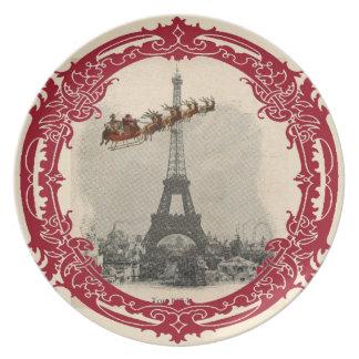 Vintage Santa over Paris Christmas Plate