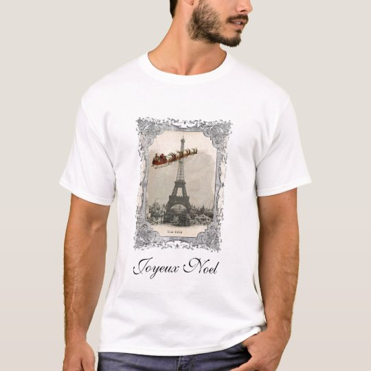 Vintage Santa over Paris Christmas T-Shirt