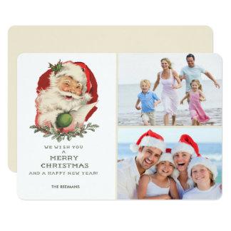 Vintage Santa Photo Merry Christmas Greeting Card
