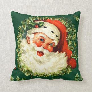 Vintage Santa, pine wreath, holly Christmas Cushion