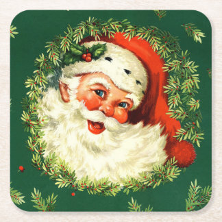 Vintage Santa, pine wreath, holly Christmas Square Paper Coaster