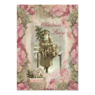 Vintage Santa, Pink Roses Collage Christmas Party 13 Cm X 18 Cm Invitation Card