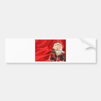 Vintage Santa red background Bumper Sticker
