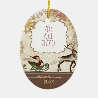 Vintage Santa & Reindeer Ceramic Oval Decoration