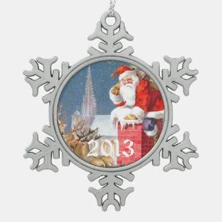 Vintage Santa Reindeer Chimney Pewter Snowflake Decoration