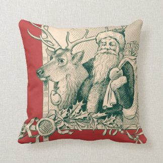 Vintage Santa Reindeer Christmas Saint Nick Cushion