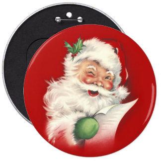 Vintage Santa Reworked! Pinback Button
